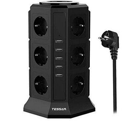 Tessan 12fach Steckdose TP VA5U12E mit 5 USB Ports und 2m Kabel für 22,79€ (statt 38€)