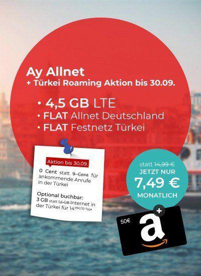 o2 Allnet Flat von Ay Yildiz mit 4,5GB LTE für 7,49€ mtl. + 50€ Amazon Gutschein