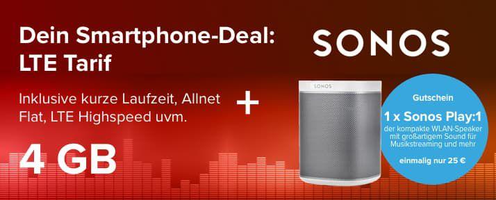 KNALLER!🔥 Sonos Play:1 nur 125€ statt 169€ dank o2 Tarif mit 6 Monaten Laufzeit   mit Gewinn!