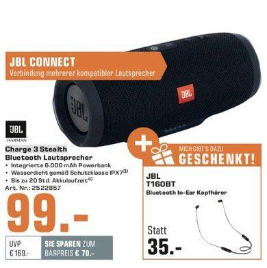 JBL Charge 3 Stealth + JBL T160 In ear Bluetooth Kopfhörer für 99€ (statt 150€)