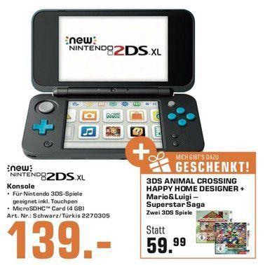 Nintendo 2DS XL + Animal Crossing + Mario&Luigi Superstar für 139€(statt 181,12€)