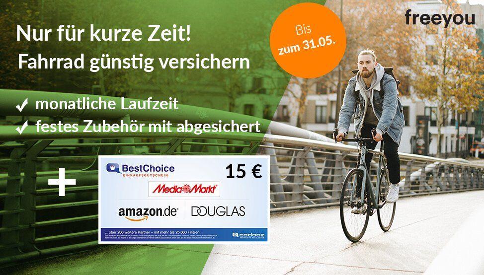 freeyou Fahrradversicherung schon ab ca. 1€ mtl. inkl. Zubehör Absicherung + 15€ Gutschein + monatlich kündbar