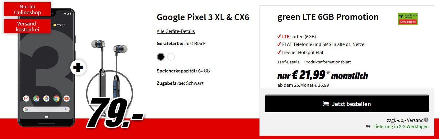 Google Pixel 3 XL + Sennheiser CX6 Kopfhörer für 79€ + Vodafone Allnet Flat mit 6GB LTE für 21,99€ mtl.
