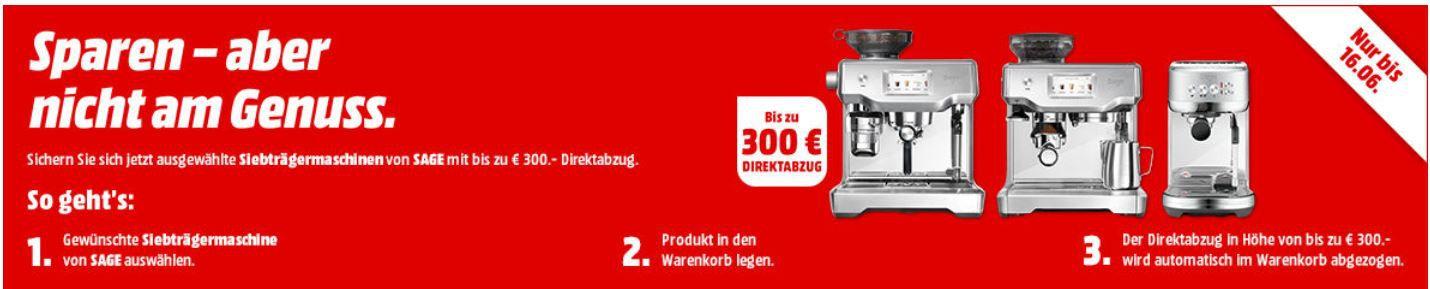 Media Markt SAGE Espressomaschinen Sale: z.B. SAGE The Bambino Plus für 399€ (statt 449€)