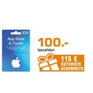 Saturn: App Store und auf iTunes Guthaben mit Bonus kaufen   z.B. 100€ kaufen und 115€ erhalten