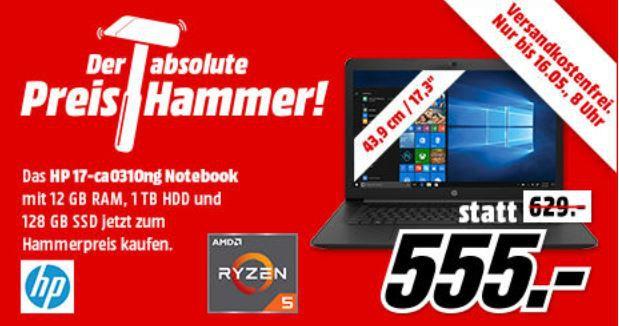 HP 17 ca0310ng   17.3 Zoll Notebook Ryzen 5 (12 GB RAM, 1 TB HDD, 128 GB SSD, Radeon Vega 8) für 555€ (statt 634€)