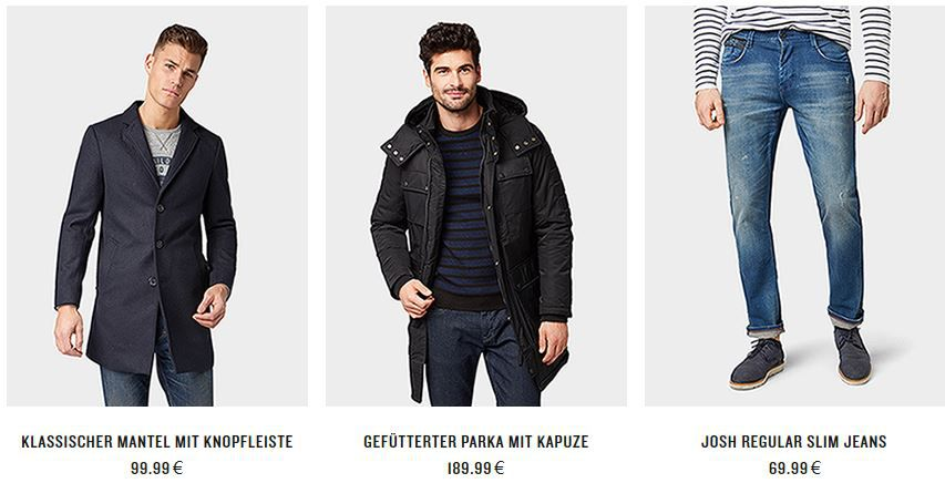 Back Week: Tom Tailor Sale bis 70% Rabatt + 20% extra Rabatt (30% Clubmitglieder)   z.B. T Shirts ab 3,99€