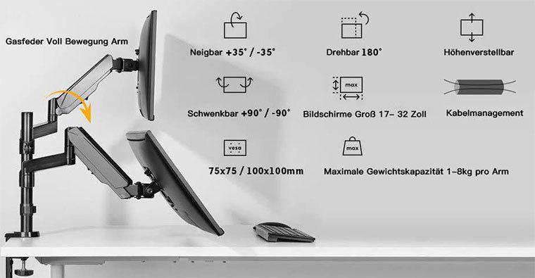 HUANUO HNDSK2 E Duale Monitorhalterung für 17 bis 32 Zoll für 45,99€ (statt 60€)