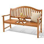 3-Sitzer Gartenbank aus Akazienholz mit hochklappbarem Tisch für 119€ (statt 159€)