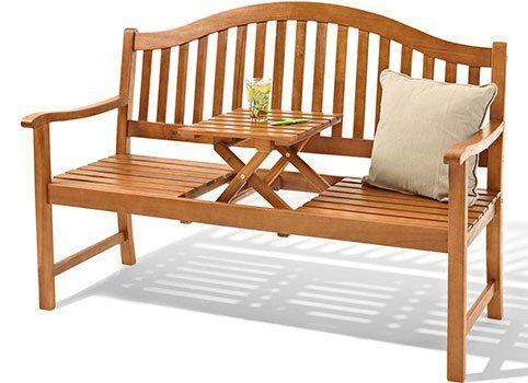 3 Sitzer Gartenbank aus Akazienholz mit hochklappbarem Tisch für 119€ (statt 159€)