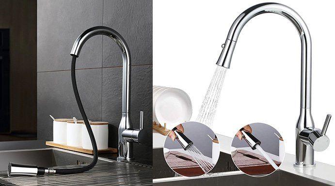 Desfau JD42210101CH ausziehbarer Wasserhahn für die Küche für 45,99€ (statt 80€)