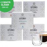 Celeste d'Oro Probierpaket – 100 Kapseln Celeste d'Oro + 2 Kaffeegläser für 30,94€