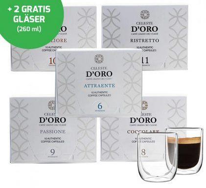 Celeste dOro Probierpaket   100 Kapseln Celeste dOro + 2 Kaffeegläser für 30,94€