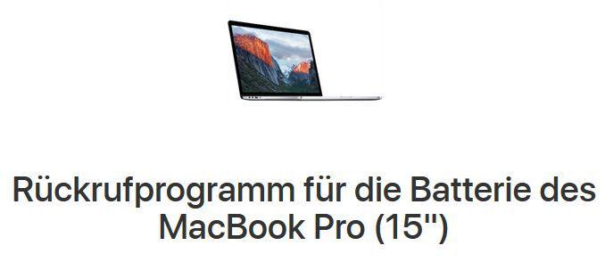 Überhitzende Akkus: Apple startet Rückrufaktion für Macbook Pro 15 (2015)