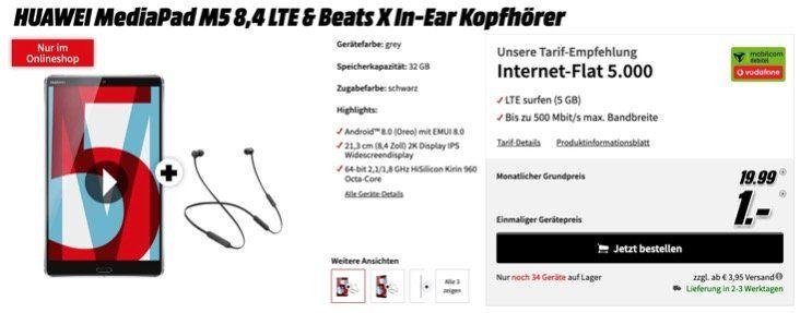Huawei MediaPad M5 LTE + Beats X In Ears für 1€ + Vodafone 5GB LTE Datenflat für 19,99€ mtl.