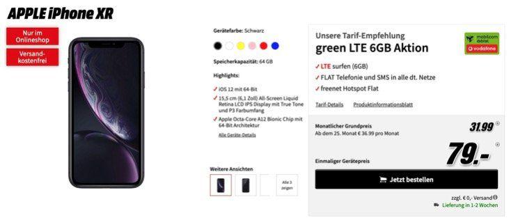 Apple iPhone XR mit 64GB für 79€ + Vodafone Flat mit 6GB LTE für 31,99€ mtl.