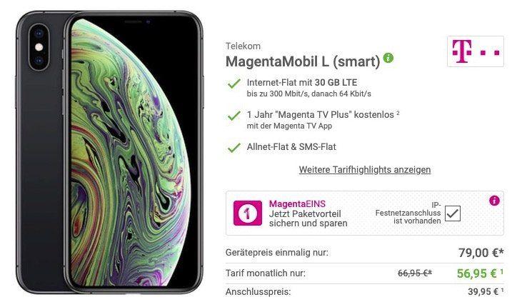 iPhone XS für 79€ + Telekom Flat mit bis 30GB LTE ab 56,95€ mtl. + 1 Jahr Magenta TV Plus gratis