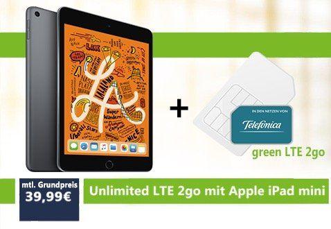 iPad Mini (2019) mit 64GB + 4G für 69,99€ + o2 Datentarif mit unbegrenztem Datenvolumen (!) für 39,99€mtl.