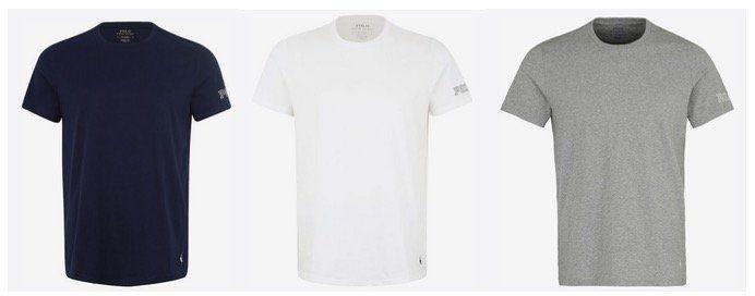 Ralph Lauren T Shirt mit Label Print in Weiss, Blau oder Grau in Restgrößen für 23,31€ (statt 40€)