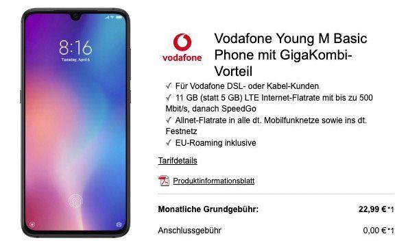 Junge Leute mit GigaKombi: Xiaomi Mi 9 für 49€+ Vodafone Flat mit 11GB LTE für 22,99€mtl.