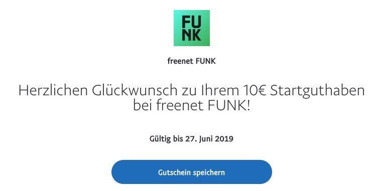 Vergriffen! 10 Tage o2 LTE Flat für Umme: 10€ freenet FUNK Guthaben via PayPal