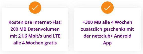 Gratis bis zu 500MB LTE Surf Flat im o2 Netz beim Netzclub