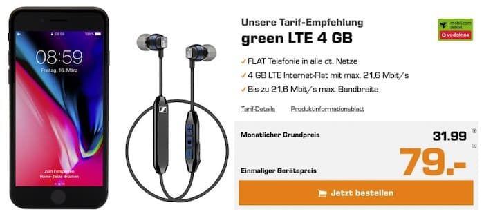 Apple iPhone 8 Plus + Sennheiser CX6 für 79€ + Vodafone Flat mit 4GB LTE für 31,99€ mtl.