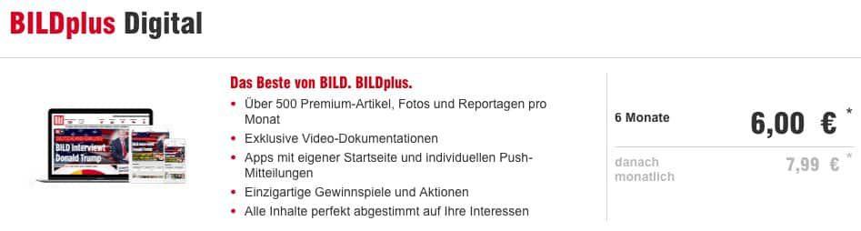 🔥 Knaller! 6 Monate BILDplus Digital für einmalig 6€ (statt normal 47€)   nur 1€ pro Monat!