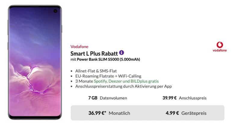 Samsung Galaxy S10 für 4,95€ + gratis Powerbank + Vodafone Flat mit 7GB LTE für 36,99€ mtl.