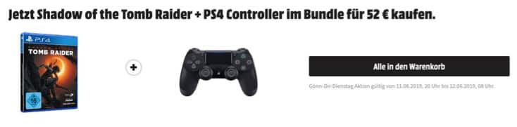Shadow of the Tomb Raider + PS4 Wireless Dualshock Controller nur 52€ (statt 65€)