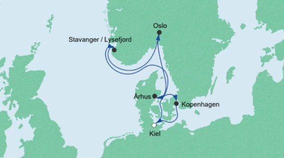 7 Tage AIDAbella von Kiel zu skandinavischen Städten inkl. Balkonkabine für 799€ p.P.