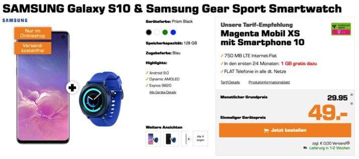 Galaxy S10 + Gear Sport für 49€ + Allnet Flat im Telekomnetz mit 1,75GB LTE für 29,95€ mtl.