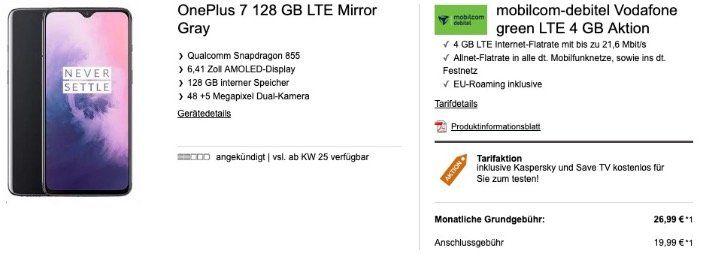 OnePlus 7 128GB für 99€ mit Allnet Flat im Vodafonenetz mit 4GB LTE für 26,99€ mtl.