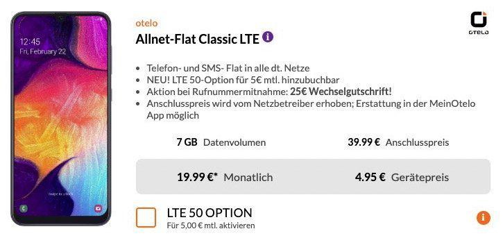 Samsung A50 für 4,95€ + Vodafone Flat von otelo mit 7GB LTE ab 19,99€mtl.