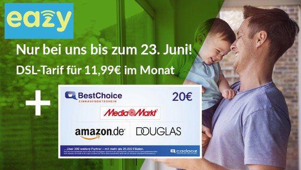 eazy Internet Unitymedia mit 20 Mbit/s für 11,99€ mtl. + 20€ Prämie