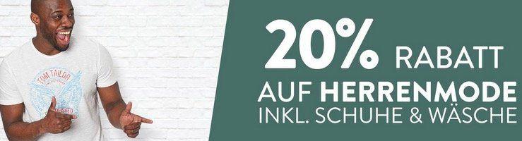 Nur heute: 20% Rabatt auf Herrenmode z.B. Hugo Boss T Shirt für 23,96€