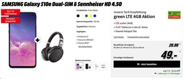 Samsung Galaxy S10e + Sennheiser HD 4.50 für 49€ + Vodafone Flat mit 4GB LTE für 26,99€mtl.