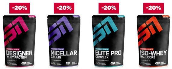 22% Rabatt auf ALLES von ESN bei fitmart + gratis ESN Handtuch ab 75€   günstig Whey und andere Ergänzungsmittel