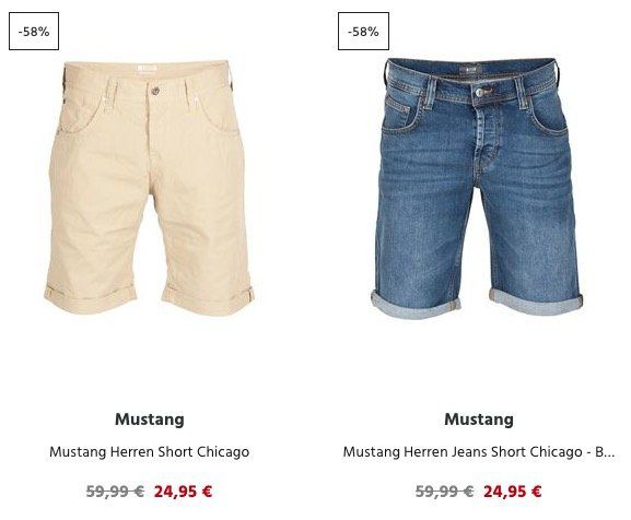 Mustang Shorts ab 19,95€   auch Jeans Modelle