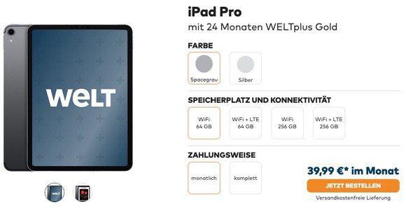 Welt Digital HD Zweijahresabo mit Gratis Tablet z.B. Apple iPad Pro 11 64GB