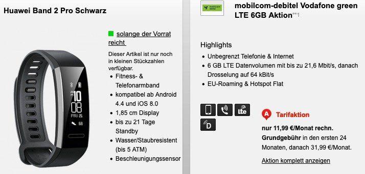 Allnet Flat im Vodafone Netz mit 6GB LTE für 11,99€ + Huawei Band 2 Pro Fitnesstracker für 1€