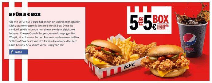 KFC 5für5: Box mit 2 Burgern, 1 Hot Wing, Pommes und Getränk für 5€