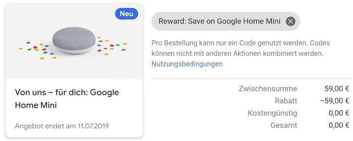 Tipp: Gratis Google Home mini für (ausgewählte) Google One Abo Nutzer