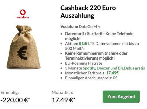 Vodafone DataGo M Datentarif mit 8GB LTE für eff. 8,32€ mtl. dank 220€ Cashback + 100€ Reisegutschein (499€ MBW)