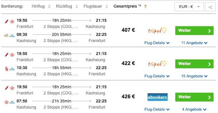 Taiwan: Hin  und Rückflug von Frankfurt nach Kaohsiung inkl. Gepäck ab 407€