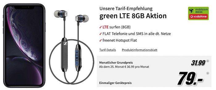 Vorbei! Apple iPhone XR mit 64GB + Sennheiser CX6 für 79€ + Vodafone Flat mit 8GB LTE für 31,99€ mtl.
