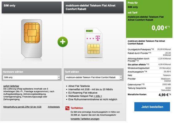 🔥 Letzte Chance: Allnet Flat im Netz der Telekom + 2GB Daten nur 4,99€ monatlich