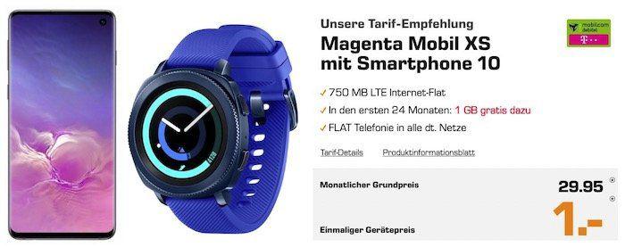 *effektiv gratis Tarif* Galaxy S10 + Gear Sport für 1€ + Telekom Allnet Flat mit 1,75GB LTE für 29,95€ mtl.