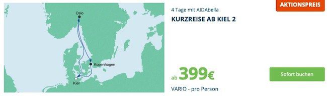 🚢 AIDA Kurzreisen Spezial z.B. 4 Tage mit AIDAbella von Kiel ab 399€