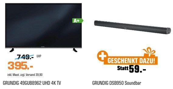 Grundig 49 Ultra HD Smart TV + Smart Soundbar für 395€ (statt 495€)